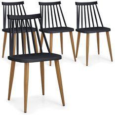 Chaise polypropylène noir pieds imitation bois Nordi - Lot de 4