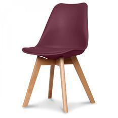 Chaise scandinave bordeaux Keny - Lot de 2
