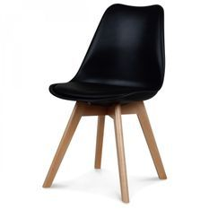 Chaise scandinave noir Keny - Lot de 2