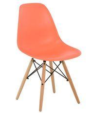 Chaise scandinave orange et bois naturel Bristol