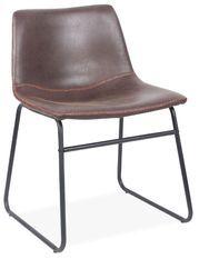 Chaise simili cuir marron café et pieds métal noir Famou