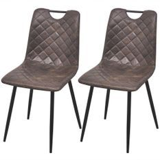 Chaise simili cuir marron foncé et métal Blindee - Lot de 2