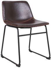 Chaise simili cuir marron foncé et pieds métal noir Famou