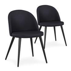 Chaise similicuir noir et pieds métal noir Maurane - Lot de 2