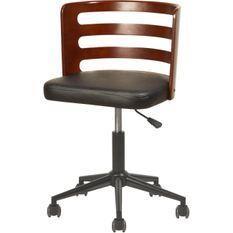 Chaise sur roulette en bois noyer avec assise en similicuir noir Zola