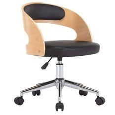 Chaise sur roulettes simili cuir noir et bois clair Esinn