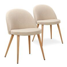 Chaise tissu beige et pieds bois clair Maurane - Lot de 2