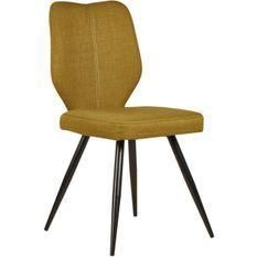 Chaise tissu jaune moutarde et pieds métal noir Chika - Lot de 2