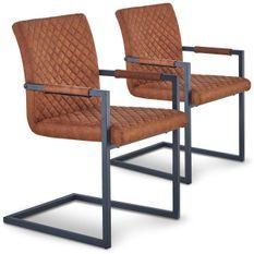 Chaise tissu marron et pieds métal noir Shanti - Lot de 2