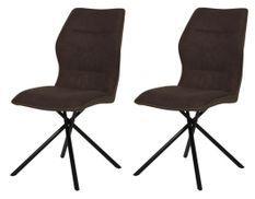 Chaise tissu marron et pieds métal noir Narcia - Lot de 2
