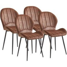 Chaise tissu marron et pieds métal noir Purane - Lot de 4