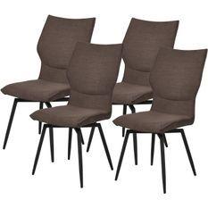 Chaise tissu marron et pieds métal noir Tachel - Lot de 4