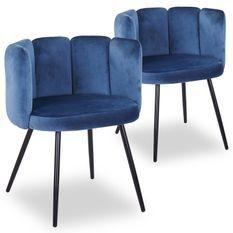 Chaise velours bleu et pieds métal noir Tsiamé - Lot de 2