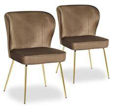 Chaise velours marron et pieds métal doré Indal - Lot de 2