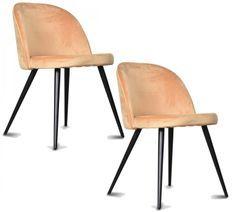 Chaise velours orange clair pieds métal noir Palace - Lot de 2
