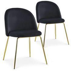 Chaise velours noir et pieds métal doré Alexa - Lot de 2