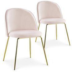 Chaise velours rose et pieds métal doré Alexa - Lot de 2