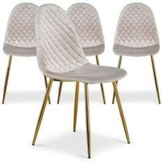 Chaise velours taupe et pieds métal doré Waron - Lot de 4