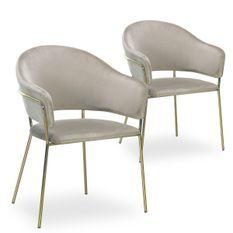 Chaise velours taupe et pieds métal doré Tommy - Lot de 2