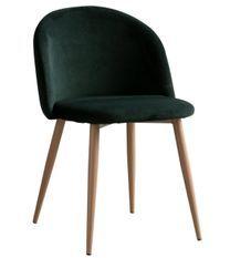 Chaise velours vert foncé et pieds métal imitation bois Vida