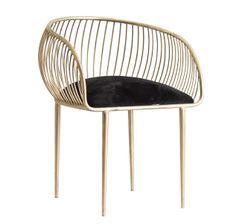 Chaise avec accoudoirs art déco métal doré et velours noir et métal doré Zug - Lot de 2