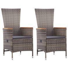 Chaises d'extérieur 2 pcs avec coussins Résine tressée Gris