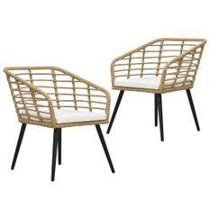 Chaises de jardin 2 pcs avec coussins Résine tressée Chêne