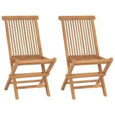 Chaises de jardin pliables 2 pcs Bois de teck massif