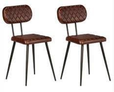Chaises de salle à manger cuir marron et pieds métal noir Moundir - Lot de 2