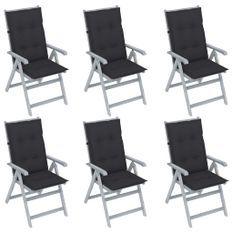 Chaises inclinables de jardin 6 pcs avec coussins Bois d'acacia