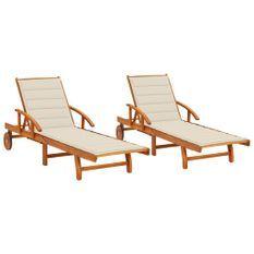 Chaises longues 2 pcs avec coussins Bois d'acacia solide