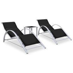 Chaises longues 2 pcs avec table Aluminium Noir