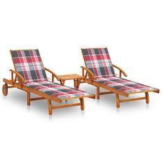Chaises longues 2 pcs avec table et coussins Acacia solide