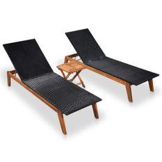 Chaises longues 2 pcs et table Résine tressée et bois d'acacia