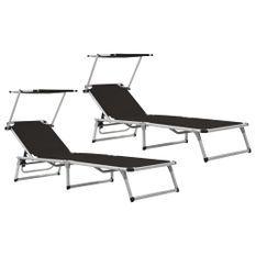 Chaises longues pliables et toit 2 pcs Aluminium textilène Noir