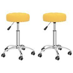 Chaises pivotantes de bureau 2 pcs Jaune moutarde Tissu