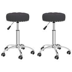 Chaises pivotantes de bureau 2 pcs Noir Tissu