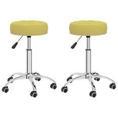 Chaises pivotantes de bureau 2 pcs Vert Tissu