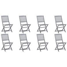 Chaises pliables d'extérieur 8 pcs Bois d'acacia solide