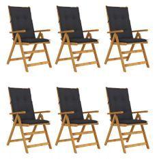Chaises pliables de jardin 6 pcs avec coussins Bois d'acacia