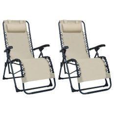 Chaises pliables de terrasse 2 pcs Crème Textilène