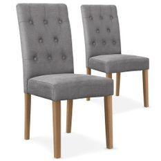 Chaise capitonnée tissu gris Cécilia - Lot de 2