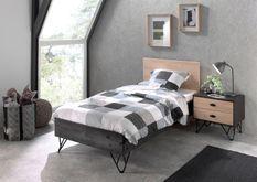 Chambre 2 pièces bois massif clair et gris Arna 120x200 cm