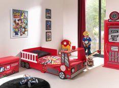 Chambre 2 pièces lit pompier 70x140 cm et armoire bois rouge Cara