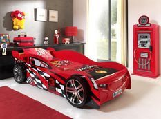 Chambre 2 pièces voiture de course 90x200 cm et 1 armoire bois rouge Spider