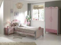Chambre 3 pièces gris et rose Girly