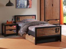 Chambre 4 pièces lit gigogne sommier et chevet pin massif foncé et noir Alex 90x200 cm