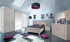 Chambre à coucher bois de chêne grisé Lima 140