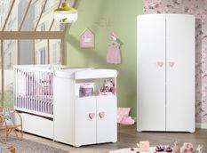 Chambre bébé 2 pièces bois laqué blanc Basic 60