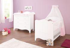 Chambre bébé 2 pièces bois laqué blanc Fleur